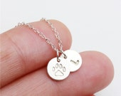 Personalized Hand stamped initial and pet paw print  - sterling silver circle necklace - everyday simple