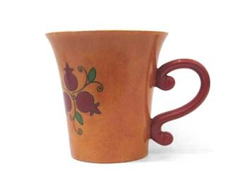 Large Natla, Judaica, Ceramic Natla, Ceramic Washing Cup, Netillat Yadayim Cup, Hand painted cup, Orange cup