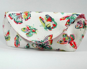 Sunglasses Case, Cath Kidston Butterflies Fabric, Eyeglasses Case, Glasses Pouch, Handmade Case, Made in Britain, Gift Idea