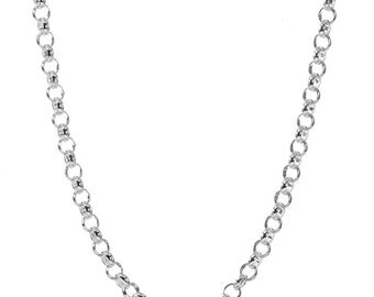 30 inch Stainless Steel ROLO Chain Necklace Only - Adjustable