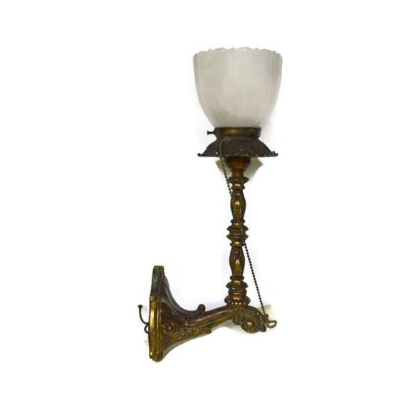 Vintage Victorian Wall Light Sconce Ornate Brass by Vintassentials