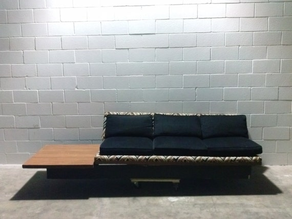 Items Similar To Cyber Monday Sale Vintage Mid Century Modern Platform Sofa Chevron Upholstery