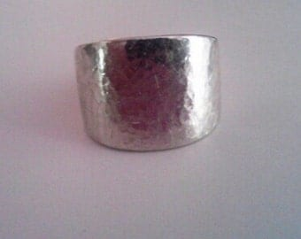Very Heavy hammered Sterling Band Ring size 7