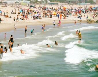 Summer Beach - Nature Art - Fun Summer - New York  Summer Life - Wall Decor - Ocean Waves - NY Landscape - NY Coney Island Beach Photograph