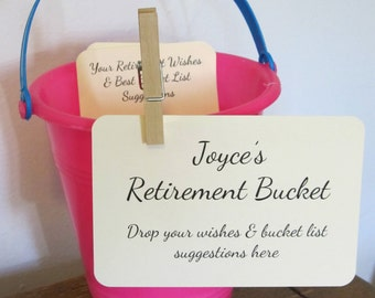 Retirement Bucket Instruction Card for Retirement Party Wish Tags / 4x6 / Retirement Bucket List