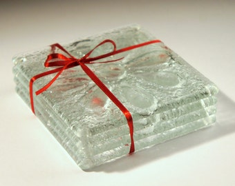 Clear Daisy Glass Coasters - Set of 4 Fused Glass Coasters with Flower Design