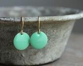 mint green enamel earrings