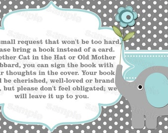 Elephant baby shower invitation bring a book instead of a card boy baby shower invitations (57ta)
