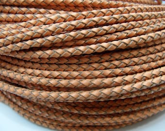 3mm Braided Genuine Leather Cord Light Brown String - 3591 - Wholesale Leather Cord
