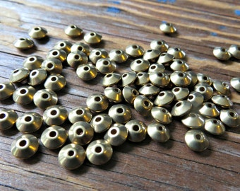 Solid Brass Saucer Beads 6mm x 3mm (100 pieces)
