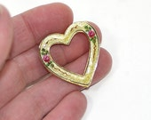 Guilloché Heart Brooch Guilloche Enamel Heart Brooch Guilloche Brooch Enamel Heart Pin Heart Shaped Brooch Valentines Brooch Yellow Pink - KickassStyle