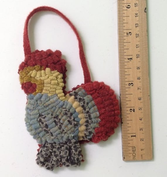 Primitive hooked Dala Rooster Ornament O103