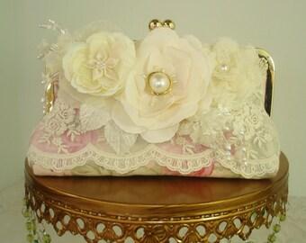 Shabby Chic Wedding /  Vintage Wedding / Valentine Wedding / Bridesmaid Gift / Pink Clutch / Farmhouse Wedding