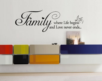 FAMILY Life, Love Quote Vinyl Wall Art Sticker, Decal