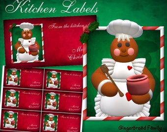 "Gingerbread Girl ""Honeypot"" Kitchen Labels - Digital Download"