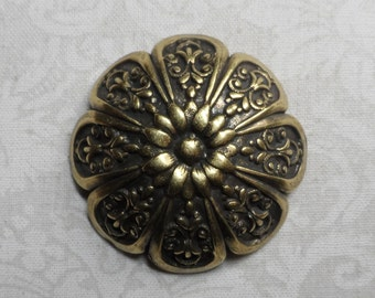 "Vintage gold plate brass stamped brass high dome flower blank,1&1/2"" diameter,1pc-KC315"