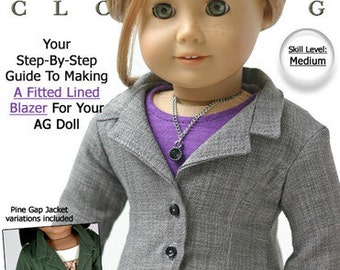Pixie Faire Liberty Jane Sofia Blazer Doll Clothes Pattern for 18 inch American Girl Dolls - PDF