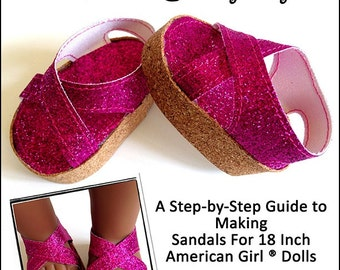 Pixie Faire Miche Designs Cork Wedge Sandals Doll Clothes Pattern for 18 inch American Girl Dolls - PDF