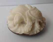 Bali Netsuke Family TURTLE EGG Statue From Tagua Nut Carving Table Decor #r542