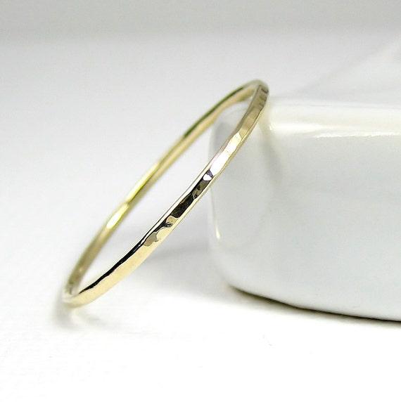 Thin Gold Ring Thin Wedding Band Skinny Gold Stacking Ring
