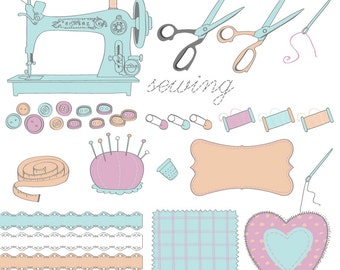 Sewing Clipart - EPS and 300 dpi PNG files