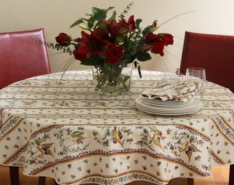 "60""Round Tablecloth Coated Provence Birds in Raspberry Red - or custom made your size up to 115"" diameter. Bread basket  also available"