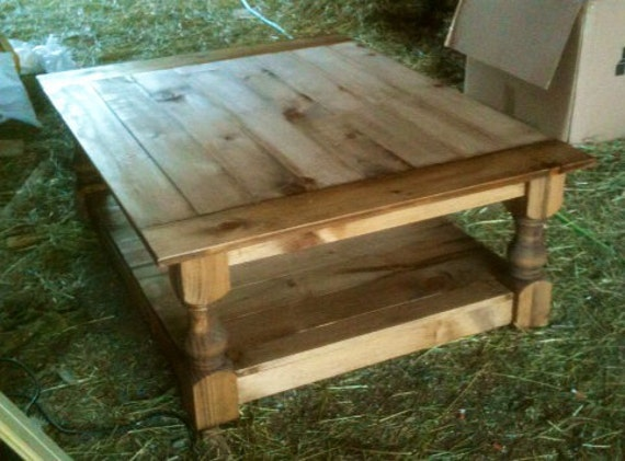 Rustic turned leg coffee table 48 x 36 by sameasnever on etsy for Coffee table 48 x 36