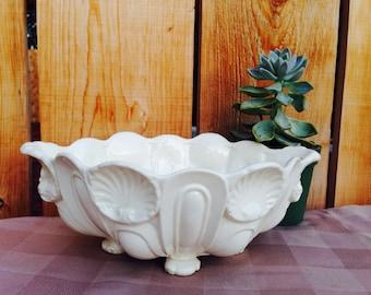 White Pedestal Shell Bowl