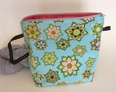 Small/Medium Project Bag with zipper-- knitting, needle storage -- Aqua floral fabric, tan zipper