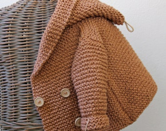 Hand knitted Handmade Baby Organic Cotton Sweater Coat Size 6-12 months