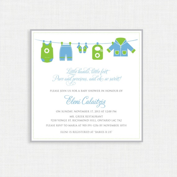 Printable Baby Shower Invitation-Baby Shower Invitation - Baby Clothes Line - Blue and Green  - Printable Invitation - Unisex