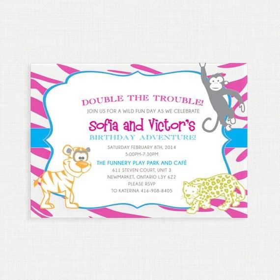 Printable Birthday Invitation- Jungle Safari Birthday Invitation, Jungle Safari Baby Shower Invite, Safari Jungle Birthday Invite, Monkey