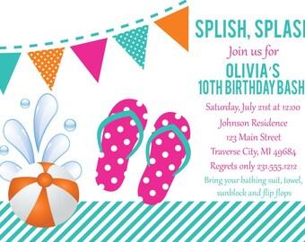 Flip Flop Invitation - Birthday Summer Party Invite Girls