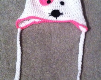 Made to order- Luv kitty ear flap hat