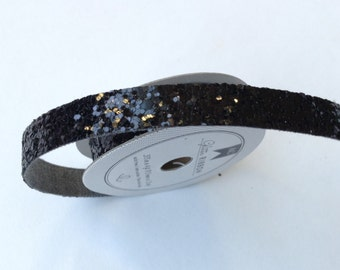 New Glitter Ribbon great for scrapbooking by American Crafts --- Chunky Black