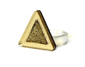 Gold Glitter Resin Geometric Sterling Silver Ring