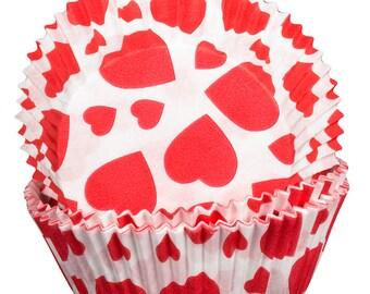 Hearts Design Cupcake Cases x60