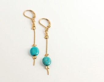Turquoise long earrings - turquoise  eliptic shape earrings- Free Shipping