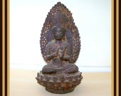 Rare ANTIQUE Chinese Heavy Metal Sitting BUDDHA Statue - Great Details-  Asian Collectible - Pre - 1850
