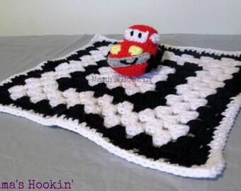 High Contrast Car Lovey, Red, White, and Black Security Blanket, Racing Themed Baby Gift, Baby Shower Gift, Crochet Blanket Buddy