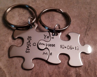 You complete me puzzle piece keychains personalized hand stamped jewelry wedding anniversary