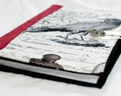 A5 Fabric covered notebook with reusable blackbird writing set cover with a vintage button to secure the journal