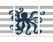 Nautical Nursery - Nursery Art For Boy - Nautical Nursery Decor - Octopus - Nursery Octopus Wall Art - Set Of 3 PRINTS