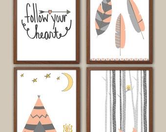 Girl Tribal Nursery Art - Camping - Adventure - Tepee - Feathers - Nursery Quote - Deer Fawn - Set Of 4 Nursery Prints For Girls