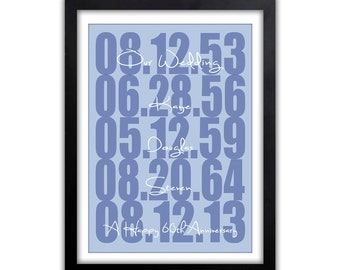 Anniversary Gift - Anniversary Gift for Her - Personalized Anniversary Gift - Wedding Gift - Save The Date - What a Difference a Day Makes