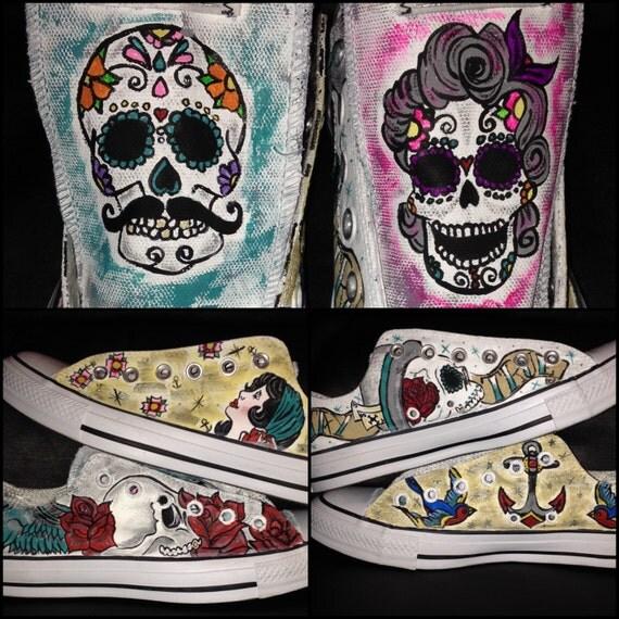 tattoo sugar skull sailor jerry style shoes custom adult. Black Bedroom Furniture Sets. Home Design Ideas