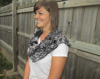 Shades of Gray Chunky Knit Cowl Scarf
