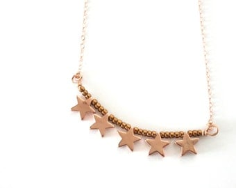 Lucky Stars necklace - simple rose gold filled necklace with lucky stars, bronze beads, chic, simple, best friends, sisters