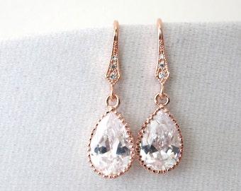 Rose Gold Cubic Zirconia Teardrop Earrings - gifts for her, earrings, bridal gifts, drop, dangle, pink gold weddings, bridesmaid earrings