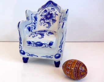 Vintage Ceramic Blue and White Overstuffed Chair marked Nantucket - Beach Decor - Cottage Chic Home Decor - Heavy China Blue and White Chair